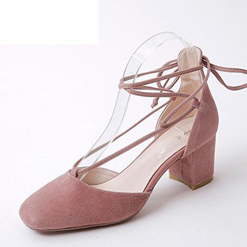 Zapatos Finos De Tacones Chunky/Zapatos Coreanos Huecos Principales Cuadrados/Banda Cruzada De Tacones Altos Bajos A