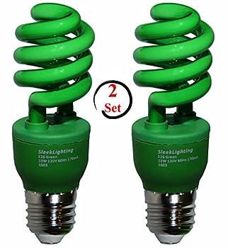 SleekLighting 13 Watt Green Spiral CFL Light Bulb 120Volt, E26 Medium Base. (Pack of 2)