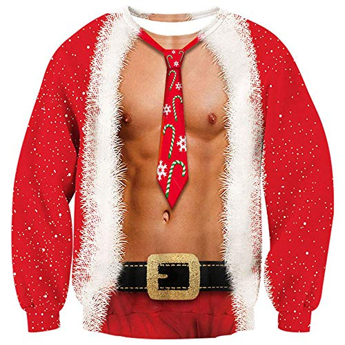 Loveternal Men Sexy Christmas Pullover Sweatshirts 3D Funny Printed Long Sleeve Sweater Blouse Shirt -