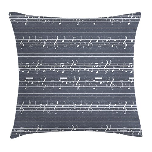 - Ambesonne Grey Decor Throw Pillow Cushion Cover by, Classical Music Clay with Notes in Symbols Rhythm Jazz Song Melody Treble Clef Image, Decorative Square Accent Pillow Case, 20 X 20 Inches, White