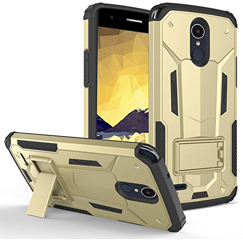 Cell Accessories For Less (TM) LG Stylo 3 LS777 LGL84VL - Hybrid Transformer Case Cover Stand in ZV Blister Packaging - Gold/Black Bundle (Stylus & Micro Cleaning Cloth) - By - Store Zv