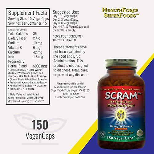HealthForce SuperFoods Scram - 150 Vegan Capsules - All Natural Internal Parasite Cleanse, Anti Fungal, Anti Yeast - Non GMO, Organic, Gluten Free - 15 Servings by HEALTHFORCE SUPERFOODS (Image #7)