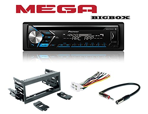 Pioneer DEH-S4000BT Single DIN Bluetooth In-Dash CD/AM/FM Car Stereo Receiver, with Scosche GM02B Mini Speaker Connector, Scosche MDA1B GM Micro/Delco Antenna Adapter and Scosche GM1483B Truck Kit