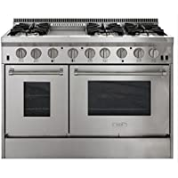 AGA APRO48DFSS 48 Professional Dual Fuel Range with RapidBake Convection, Stainless Steel
