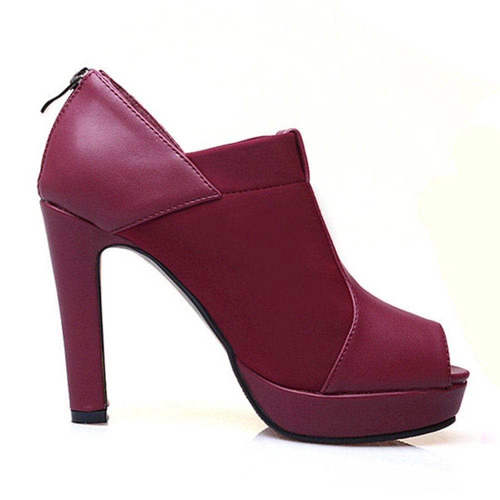 MINIVOG Rhinestone Women's Classic Rhinestone MINIVOG Peep Toe Summer Pump Shoes B01NCB0KIY 5.5 B(M) US Wine 327fb2