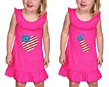 4Th Of July American Flag Heart Tie Ruffle Collar Tank Dress Twin Set Hot Pink 24 Months