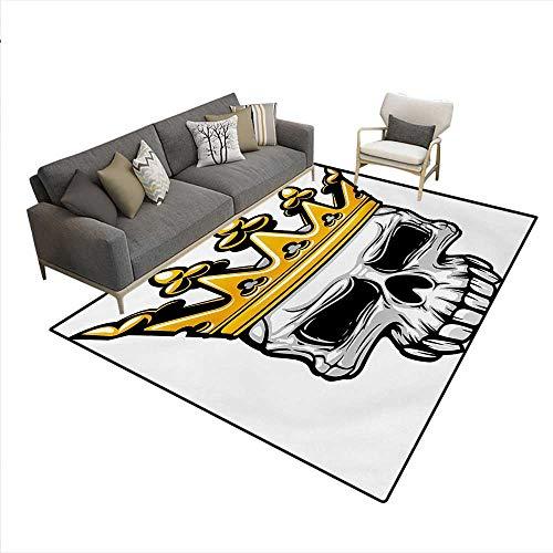 Carpet,Hand Drawn Crowned Skull Cranium Coronet Tiara Halloween Themed Image,Rug Kid Carpet,Golden Pale Grey,6'6