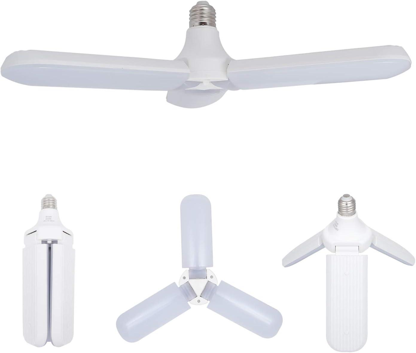 LED Garage Light Bulb, Deformable LED Light 45W Cold White, E27/E26 Foldable Fan Blade 6500K Ultra-Bright Ceiling Lamp Bulb for Home Garage Porch Backyard Garden