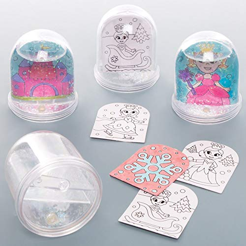 Baker Ross AT168 Princess Colour in Snow Globe Kits (Box of 4) -Arts and Crafts for Kids, Assorted