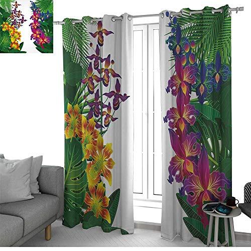 Rod Ginger Shower (NUOMANAN Living Room Curtains Leaf,Flower Kahili Ginger Bamboo and Orchid Vivid Colored Tropic Accents,Purple Yellow and Dark Green,Adjustable Tie Up Shade Rod Pocket Curtain 100