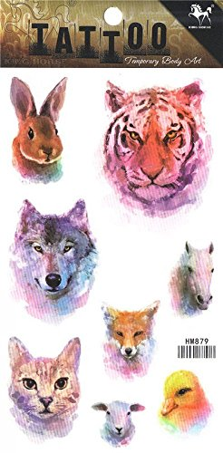 Wonbeauty best and temporary tattoos Different animal heads long lasting and realistic temporary tattoos including rabbit,wolf,tiger,cat,horse,bird,etc.
