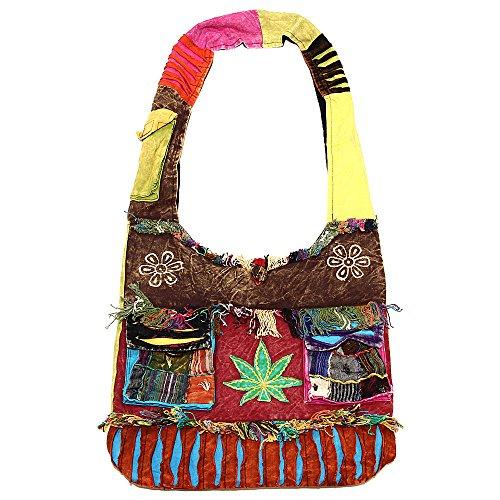Bohemian Hippie Crossbody Shoulder Bag Sling Cotton Handmade Variety Patterns (2057 - Leaf)