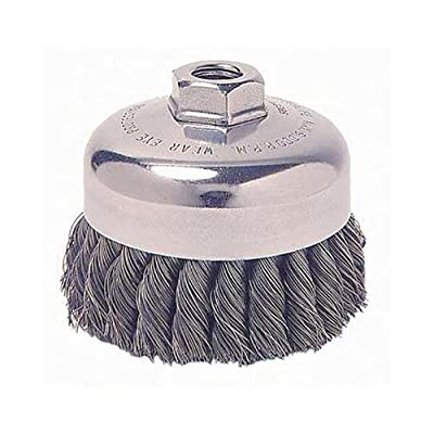"Weiler Wire Cup Brush, Threaded Hole, Stainless Steel 302, Partial Twist Knotted, 2-3/4"" Diameter, 0.02"" Wire Diameter, 10x1.25 mm Arbor, 1"" Bristle Length, 14000 rpm (Pack of 1)"