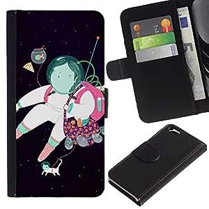 KLONGSHOP // Tirón de la caja Cartera de cuero con ranuras para tarjetas - Astronauta Resumen Sueño Negro - Apple Iphone 6 //