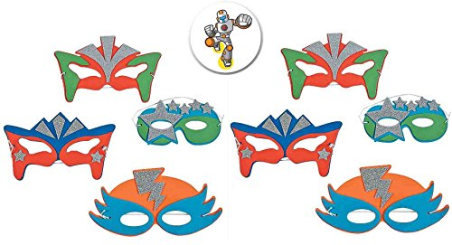 24 Foam Superhero Masks plus One Armored Superhero Button by AMA ... -
