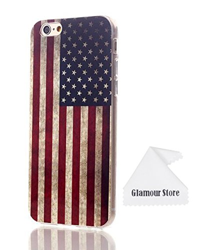 iPhone 6 Case,Retro Vintage Old United States American U.S.A. Flag Rubber Skin TPU Gel Silicone Soft Case Cover Skin For Apple iPhone 6 4.7 inch With a Free Cleaning Cloth As a Gift