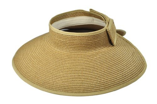 Simplicity Straw hat w/ Wide Brim Roll-up Sun Visor (Womens, Travel) by Simplicity by Simplicity