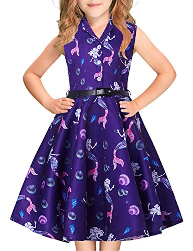 Big Girls Princess Dress Colorful Mermaids Angel Print 1940s 1960s 80s Teens Junior Sleeveless Ruffles Pleated Navy Blue Dresses with Belt Casual Custome for Prom Dressing Up Party 13-14 Years Old