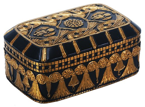 Egyptian Themed Decorations (Egyptian Themed Winged Scarab Amulet Lotus Black and Gold Jewelry Box)