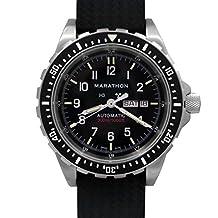 MARATHON WW194021 Swiss Made Military Bilingual Diver's Automatic Calendar Black Watch with Tritium
