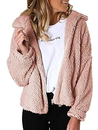 Womens Sherpa Full Zip Faux Fur Jackets Long Sleeve Fleece Fuzzy Lapel Flutty Shearling Winter Warm Outwear (Pink, X-Small)