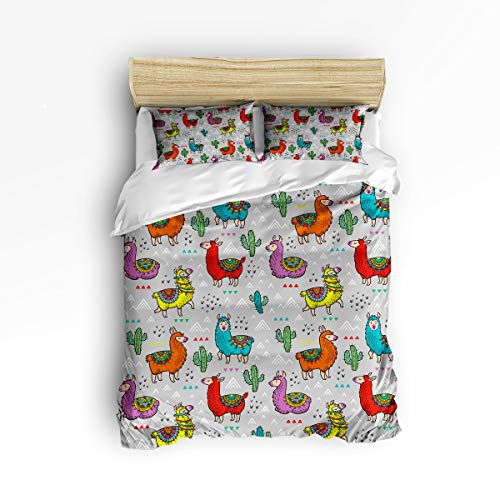 YEHO Art Gallery Full Size Stylish Kids Duvet Cover Set for Girls Boys,Cute Camel Animal Colorful Pattern Soft Comfort Bedding Sets,Include 1 Comforter Cover with 2 Pillow Cases
