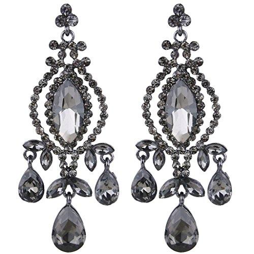 Vintage chandelier earrings amazon ever faith black tone austrian crystal vintage style teardrop dangle chandelier earrings grey mozeypictures Images