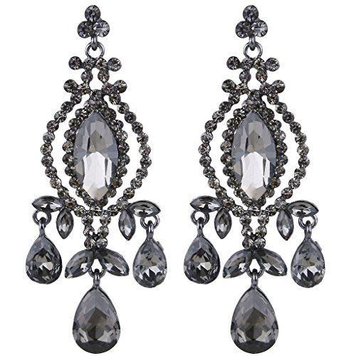 - EVER FAITH Black-Tone Austrian Crystal Vintage Style Teardrop Dangle Chandelier Earrings Grey