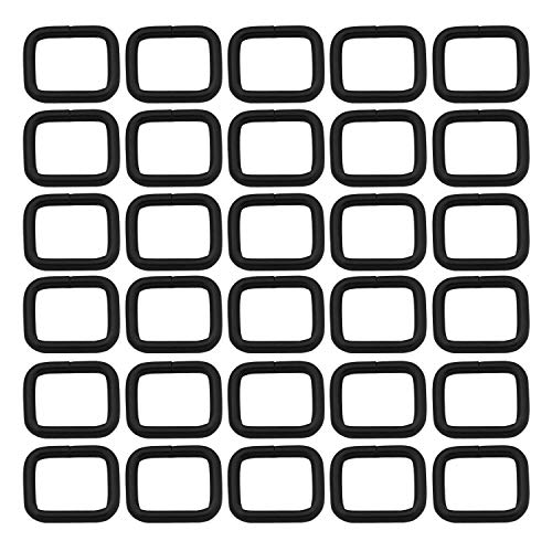 Metal Rectangle Ring Buckles Square Strap Webbing Belt Rings for Bag Purse Non Welded 5/8 x 1/2 Inch, Black, Pack of 30