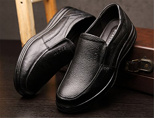 slip Lace Moccasin Driving Shoes Black RAINSTAR Cowskin on Classic Loafers Up Casual Mens w6PwY