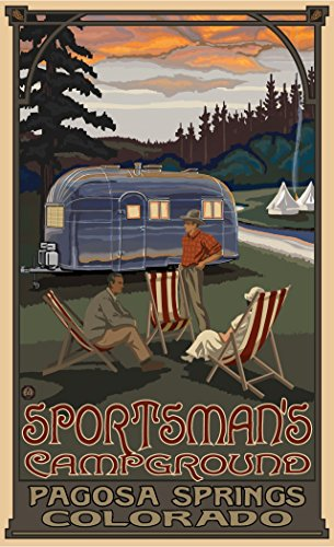 Northwest Art Mall PAL-6488 Air Sportsman Campground Airstream Trailer 11x17 Print by Artist Paul A. Lanquist (Sportsman Trailer)
