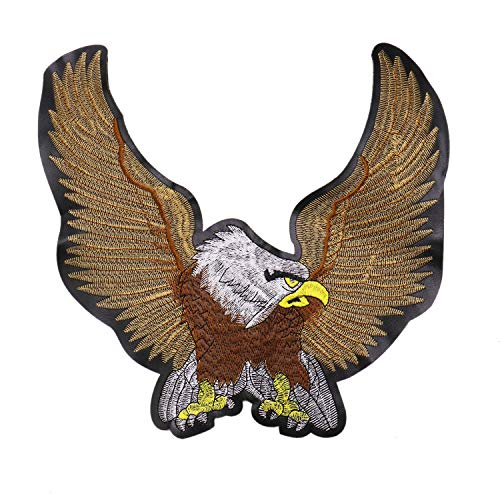 JETEHO Large Size Eagle Embroidery Sequin Sew Patch Iron On Patches for Clothing, Jackets, Jeans
