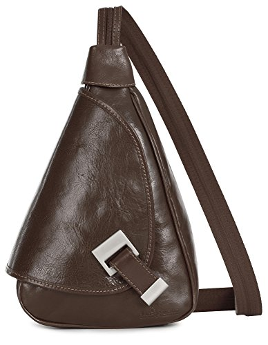LIATALIA Rucksack Small bag MILA Italian Tan in Backpack Genuine Leather Dark Duffle EwEOqrdU