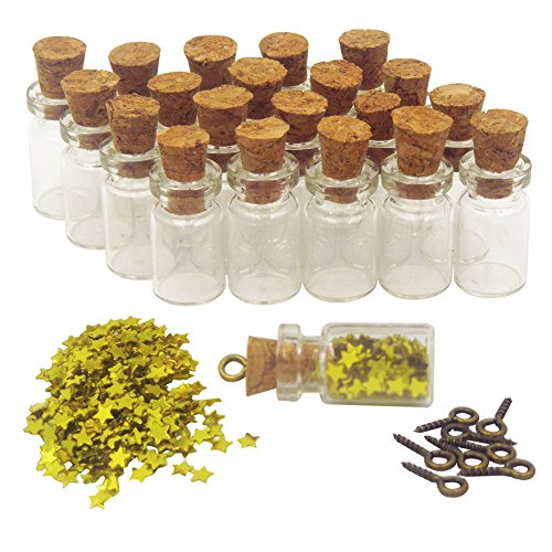 LEFV™ 100 Mini Glass Bottles 3/4inch Message Treasure Charm Pendant Kit 0.5ml Clear Vials with Corks with Star Sequin & 100pcs Eye Screws - Miniature Empty Sample Jars (Glass Star Pendant)