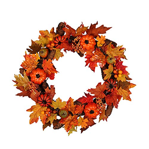 Youzpin Pumpkin Pine Cones Maple Leaf Holiday Decorate Simulation Garlands,Fall Harvest Season Door Front Decor Wreath,Thanksgiving,Christmas,Halloween Indoor Outdoor Wall Door Decoration Rattan Hoop]()