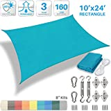 Patio Paradise 10' x 24' Sun Shade Sail with 8 inch Hardware Kit, Turquoise Green Rectangle Patio Canopy Durable Shade Fabric Outdoor UV Shelter Cover - 3 Year Warranty - Custom Size Available