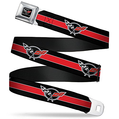 Repeat Stripe - Buckle-Down Seatbelt Belt - CORVETTE C5 Logo/Stripe Black/White/Red/Gray Repeat - 1.0