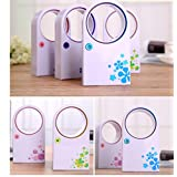 Pink Portable Creative Mini USB Handheld Air Condition Bladeless Refrigeration Fans Desktop Cooler Mini USB/ AAA Battery Powered No Leaf Air Conditioner - Safe for Kids