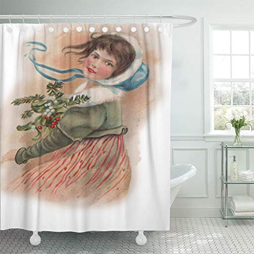 Emvency Waterproof Fabric Shower Curtain Hooks Christmas Vintage Girl Holly Victorian Old Classic Nostalgic Extra Long 72