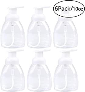 Szsrcywd 6 Pack 300ml/10oz Foaming Soap Dispensers Clear Plastic Soap Dispenser Pump Bottles,Perfect for Soap on Kitchen and Bathroom Countertops - Refillable and Eco-Friendly