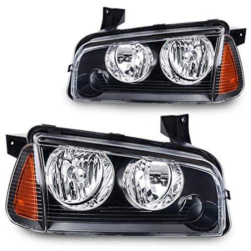 Headlight Assembly for 2006 2007 2008 2009 2010 Dodge Charger Black Housing Amber Reflector +Corner Signal Lights