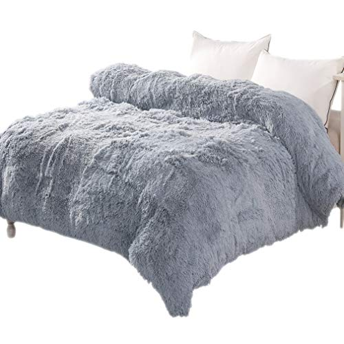 (LIFEREVO Luxury Shaggy Plush Duvet Cover 1 PC Crystal Velvet Mink Reverse Ultra Soft Hidden Zipper Closure,Queen)
