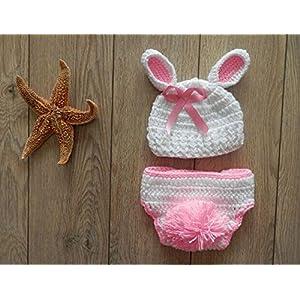 Dealzip Inc Fashion Unisex Newborn Boy Girls Crochet Knitted Baby Outfits Costume Set Photography Photo Prop-Pink Rabbit