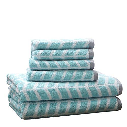 Intelligent Design - Nadia Quick Dry, Premium Absorbent Chevron Cotton Towels Bath/Bathroom Set - Ultra Soft Bathroom Towels Set - Teal - 6 Piece Set incl. 2 Shower Towel 4 Hand Towel (Bathroom Teal Towels)