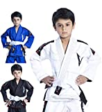 Vector Kids Brazilian Jiu Jitsu BJJ Gi with Free White Belt 100% Cotton Pearl Weave Kimono Ultra Lightweight Preshrunk Fabric (White, K4)