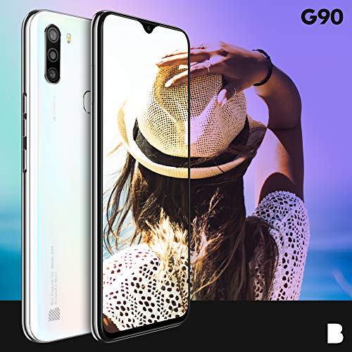 """BLU G90-6.5"""" HD+ Smartphone with Triple Main Camera, 64GB+4GB RAM and Android 10 -White"""