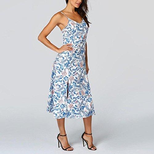 ... Damen Sommer Träger Strand Maxikleid Sommerkleid Elegant Floral Boho  Abendkleider lange Maxi Kleid Partykleid Cocktailkleid Blau ... 8f7aa07532