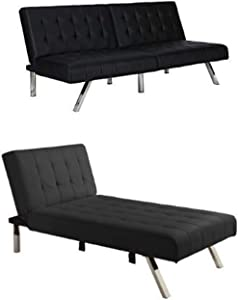 DHP Emily Sectional Sofa Sleeper, Black