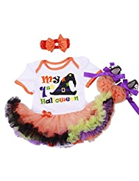 Tutu Baby Dress, My 1st Halloween Skull Pumpkin Red Orange Purple Dress Nb-18m