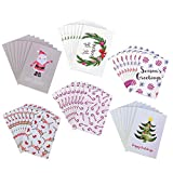 48 Pack Holiday Greeting Cards - 6 Christmas Designs with Envelopes Included, 4 x 6 Inches